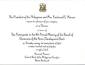 THE PRESIDENT OF THE PHILIPPINES AND MRS.: MARCOS Ferdinand and
