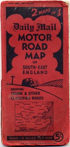 DAILY MAIL MOTOR ROAD MAP OF SOUTH-EAST ENGLAND: Daily Mail