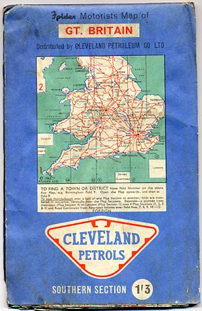 FOLDEX MOTORISTS MAP OF GT. BRITAIN, NORTHERN SECTION/SOUTHERN SECTION