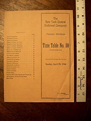 NEW YORK CENTRAL RAILROAD COMPANY, TOLEDO DIVISION, [EMPLOYEES] TIME TABLE NO. 59