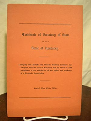 CERTIFCATE OF SECRETARY OF STATE OF THE STATE OF KENTUCKY