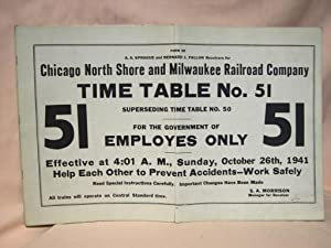 CHICAGO, NORTH SHORE AND MILWAUKEE RAILROAD COMPANY [EMPLOYEE] TIME TABLE NO. 51