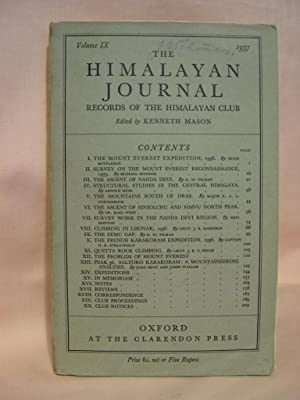 THE HIMALAYAN JOURNAL; RECORDS OF THE HIMALAYAN CLUB, VOL. IX, 1937: Mason, Kenneth, editor