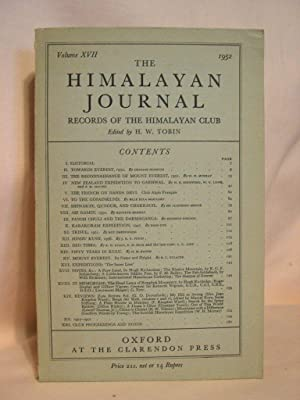 THE HIMALAYAN JOURNAL; RECORDS OF THE HIMALAYAN CLUB, VOL. XVII, 1952: Tobin, H.W., editor