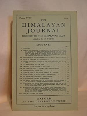 THE HIMALAYAN JOURNAL; RECORDS OF THE HIMALAYAN CLUB, VOL. XVIII, 1954: Tobin, H.W., editor