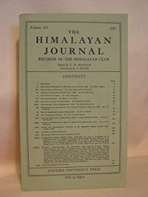 THE HIMALAYAN JOURNAL; RECORDS OF THE HIMALAYAN CLUB, VOL. XX, 1957: Braham, T.H., editor
