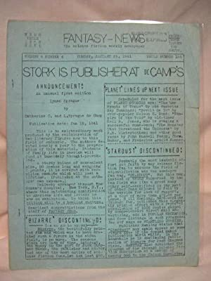 FANTASY NEWS; WEDNESDAY, JANUARY 26, 1941, VOLUME 6, NUMBER 4, WHOLE NUMBER 135: Sykora, Will, ...