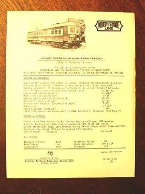 C.E.R.A. BULLETIN 13, CHICAGO NORTH SHORE AND MILWAUKEE RAILRAOD DATA SHEET