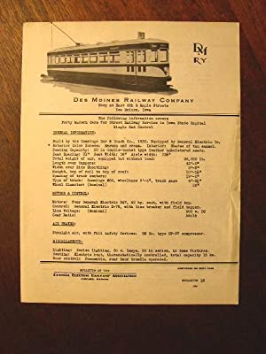 C.E.R.A. BULLETIN 16, DES MOINES RAILWAY COMPANY DATA SHEET