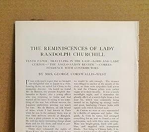 The Reminiscences Of Lady Randolph Churchill: Tenth: Cornwallis - West,