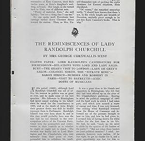 The Reminiscences Of Lady Randolph Churchill: Eighth: Cornwallis - West,