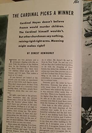 The Cardinal Picks A Winner in Ken The Insider's World Magazine: Hemingway, Ernest