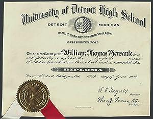 Diploma, University of Detroit High School, Detroit, Michigan, June 16, 1939: Piersante, William ...