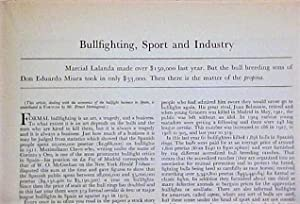 Bullfighting, Sport And Industry in Fortune Magazine: Hemingway, Ernest