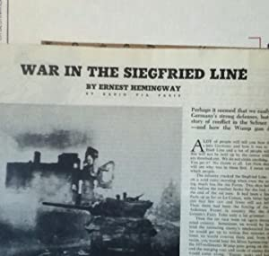 War In The Siegfried Line in Collier's Weekly Magazine: Hemingway, Ernest