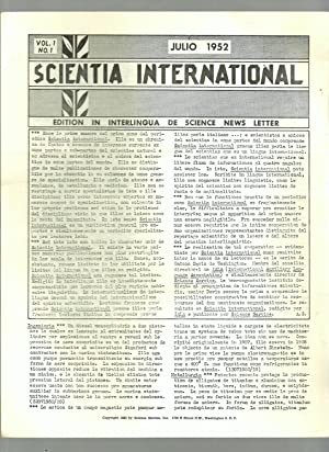 Scientia International News Letter, 12 issues, Volume I, Numbers 1 - 11, July, 1952 - May, 1953, ...