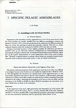 7. Specific pelagic assemblages: PERES J. M.