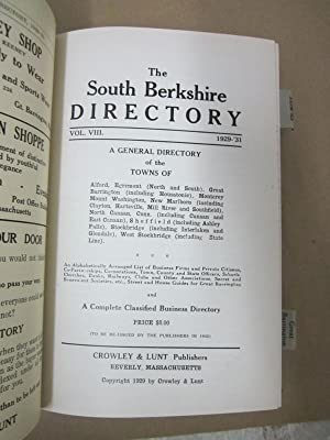 The South Berkshire Directory, Volume VIII: 1929-31