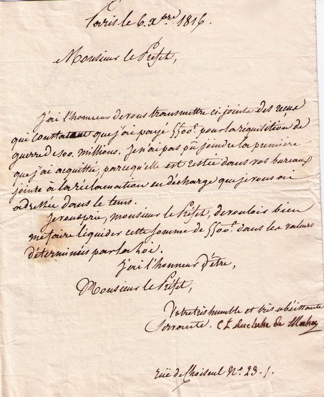 Lettre Manuscrite Signée Charlotte Lejeune Duchesse De