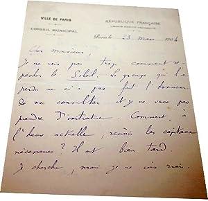 Lettre autographe à entête de la Ville de ParisConseil Municipal: Lettre Autographe