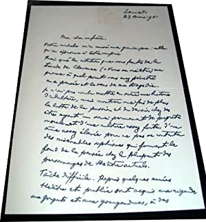 Lettre autographe duRomancier et dramaturge Fernand VANDEREM adressée: Lettre Autographe