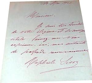 Carte Pneumatique Autographe signée de Mlle Raphaëlle SISOS adressée à M....