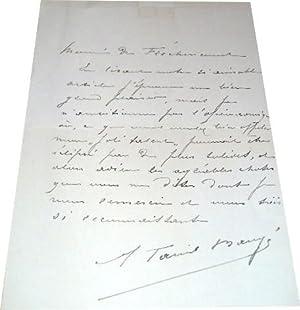 Lettre autographe de la Chanteuse lyriqueMme. TARIOL BAUGE qui: Lettre Autographe