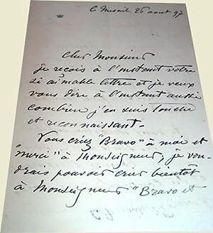Lettre autographe du Marquis de Rosanbo adressée à M. De Frechencourt il lui est ...