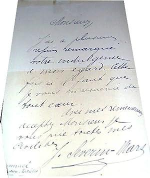 Lettre autographe de remerciement de l'acteur J. Séverin-Mars: Lettre Autographe de ...