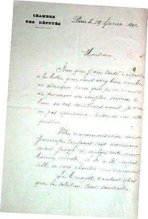 Lettre autographe à entête de la Chambre des députés de Charles DESCAURE...