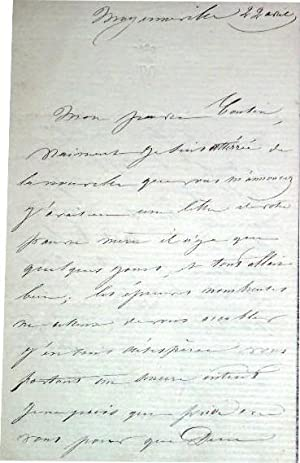 L.A.S de la marquise de VALANGLART adressée a son cousin, elle est: Lettre Autographe