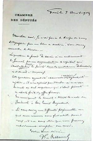 Lettre autographe à entête de la Chambre des Députés duComte de RAMEL: ...