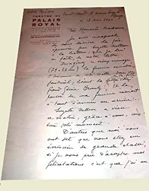 Lettre autographede Gustave QUINSON à entête du Théâtre du Palis Royal ...
