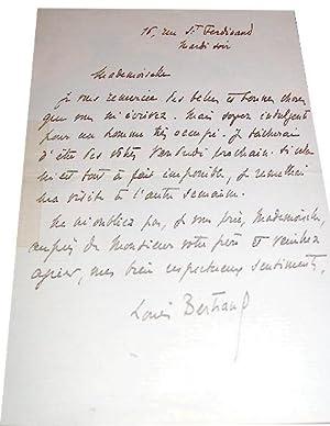 Lettre autographe de Louis Bertrand - Romancier, essayiste, historien. Réponse à une ...
