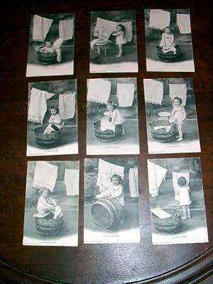 """Série de 9 cartes postales anciennes """" La Lessive de Bébé"""": Carte ..."""
