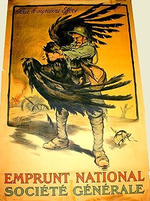 Affiche Lithographie en couleur signée FALTER. Pour le suprême effort.: FALTER