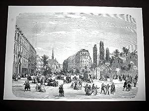 Grande gravure sur acier représentant le boulevard Saint-Michel très animé.: ...