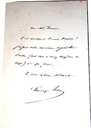 Mot autographe signé de Francisque Sarceydestinataire Alice Ducasse: Lettre Autographe