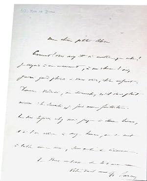 L.A.S signée de Francisque Sarcey le destinataire n'est pas cité mais il s'...