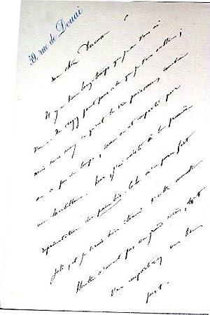 Lettre autographe signée de Francisque Sarcey le destinataire Alice Ducasse - Il y à ...