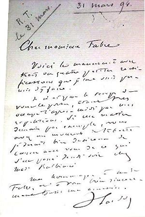 Lettre autographe signée de Victorien Sardou - Adressée à Monsieur Fabre. Au ...