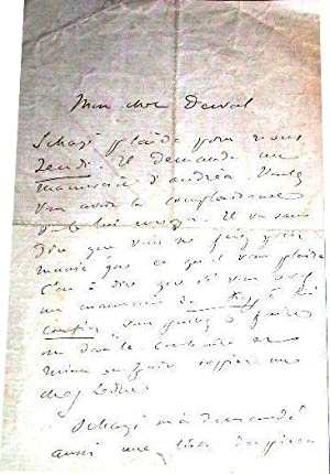 Lettre autographe signée de Victorien Sardou -Adressé à Monsieur Derval - ...