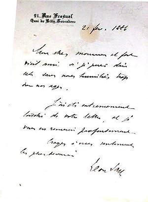 Mot autographe signé de Léon SAY à entête 21 rue FresnelQuai de: SAY (...