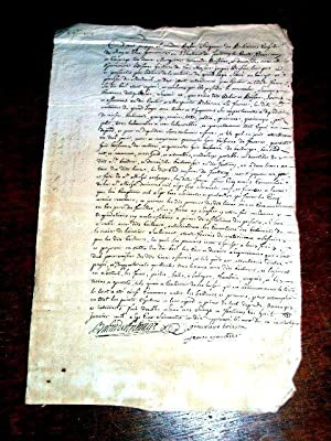 Document manuscrit de 1770 signé Jacques Alexandre BABIN SeigneurDES: MANUSCRIT XVIII ème