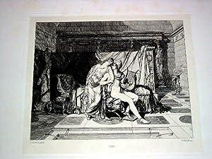 Très belle eauforte représentant les amours de Pâris et d'Hélène: DAVID Jacques Louis