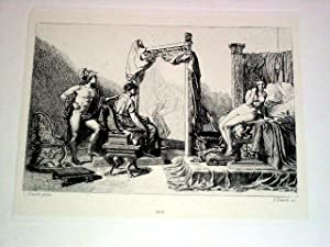 Très belle eau-forte représentant Apelle peignant Camspaspe devant Alexandre d'...