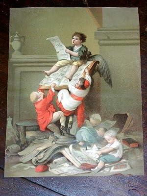 Grand Chromo XIX ème Représentant des enfants monté sur un lutrin: ...
