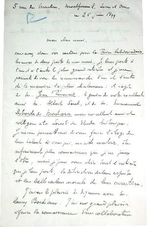 Lettre autographe signée de FrantzFUNCKBRENTANO .Il recommandeJean: FUNCKBRENTANO