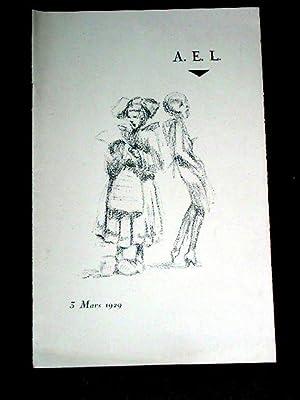 Programme de l'AEL - 3 Mars 1929 - paire de Chansons, Choeur de Vacher, Chanson de P., Pas de ...