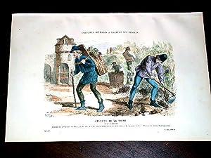 Gravure aquarellée Culture de la Vigne (Xve Siècle).: GRAVURE DE COSTUME de PARIS ...